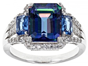 Pre-Owned Blue petalite  rhodium over sterling silver ring 3.11ctw
