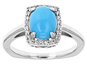 Pre-Owned Blue Sleeping Beauty Turquoise Rhodium Over 10K White Gold Ring