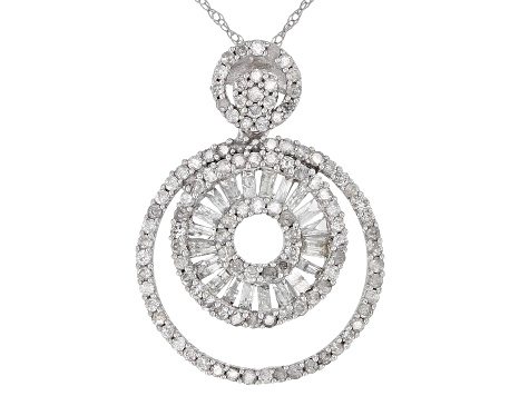 Pre-Owned White Diamond 10k White Gold Pendant 0.90ctw