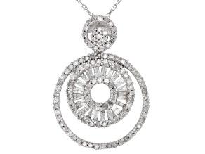 Pre-Owned White Diamond 10k White Gold Pendant 0.90ctw