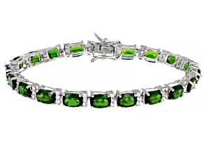 Pre-Owned Green Chrome Diopside Rhodium Over Silver Bracelet 17.88ctw