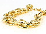 Pre-Owned 18k Yellow Gold Over Bronze Oval Cable 6 1/2 inch Bracelet