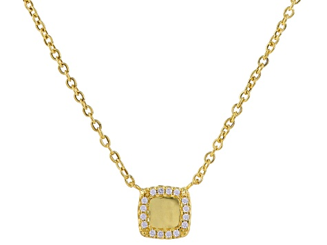 Pre-Owned 14k Yellow Gold Diamond Simulant Necklace 18 inch