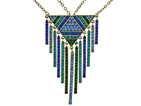Pre-Owned Multicolor Crystal Antiqued Gold Tone Dangling Necklace