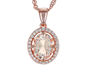 Pre-Owned Pink morganite 18k gold over silver pendant with chain 1.70ctw