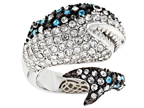 Pre-Owned Off Park ® Collection Multicolor Crystal Silver Tone Great White Shark Ring