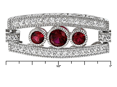 Pre-Owned Red Synthetic Corundum And White Cubic Zirconia Platineve Bracelet 6.76ctw