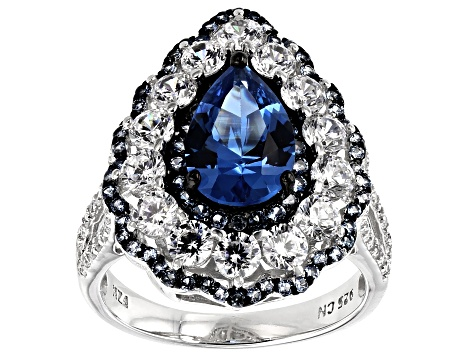 Pre-Owned Synthetic Blue Spinel & White Cubic Zirconia Rhodium Over Sterling Silver Center Design Ri