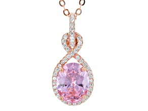 Pre-Owned Pink And White Cubic Zirconia 18k Rg Over Sterling Silver Pendant With Chain 3.61ctw
