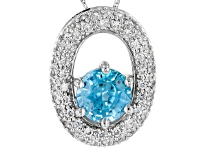 Pre-Owned Blue Zircon 10k White Gold Pendant With Chain 1.36ctw