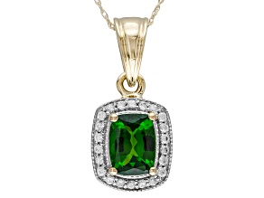 Pre-Owned Green Chrome Diopside 10k Yellow Gold Pendant Chain 1.90ctw