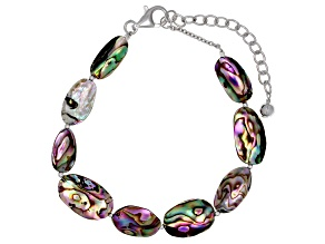 Pre-Owned Multicolor Abalone Shell Rhodium Over Silver Bracelet