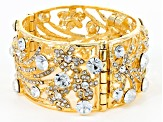 Pre-Owned White Crystal Gold Tone Floral Statement Bracelet