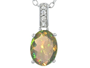 Pre-Owned Ethiopian Opal Sterling Silver Pendant With Chain .71ctw