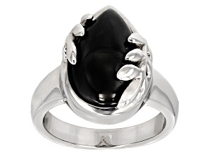 Pre-Owned Black Spinel Sterling Silver Ring 10.00ct