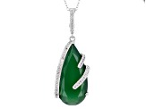 Pre-Owned Green Onyx Silver Enhancer With Chain 15.54ctw