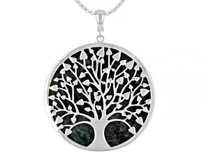 Pre-Owned Green Connemara Marble Tree Of Life Silver Enhancer With Chain