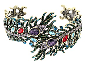 Pre-Owned Off Park ® Collection Multi-color Crystal Antiqued Gold Tone Feather Cuff Bracelet