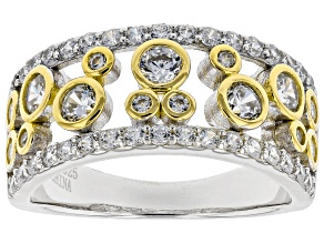 Pre-Owned White Cubic Zirconia Rhodium and 14K Yellow Gold Over Sterling Silver Ring 1.96ctw