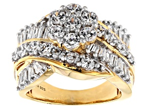 Pre-Owned White Cubic Zirconia 18K Yellow Gold Over Sterling Silver Cluster Ring 4.50ctw