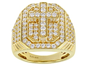Pre-Owned White Cubic Zirconia 18K Yellow Gold Over Sterling Silver Cross Ring 2.92CTW