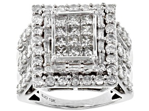 Pre-Owned White Diamond 10k White Gold Ring 2.90ctw
