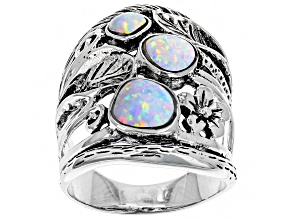Pre-Owned Lab Created Opal Sterling Silver Ring