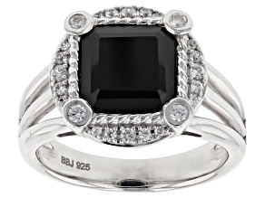 Pre-Owned Black Spinel Silver Ring 4.12ctw