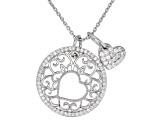 Pre-Owned White Cubic Zirconia Platineve Pendant With Chain 0.73ctw