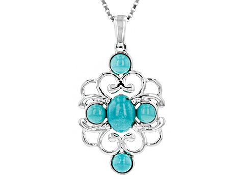 Pre-Owned Blue Turquoise Sterling Silver 5-Stone Pendant With Chain