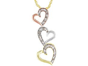 Pre-Owned White Diamond 14K Rose Gold, Yellow Gold And Rhodium Over Brass Pendant With 18