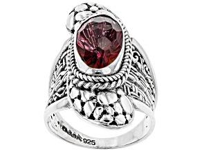 Pre-Owned Pink Elegant Rose™ Mystic Quartz® Silver Ring 3.70ctw
