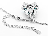 Pre-Owned Blue turquoise rhodium over silver frog pendant with chain .33ctw