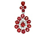 Pre-Owned Red Winza Sapphire Sterling Silver Pendant 3.40ctw