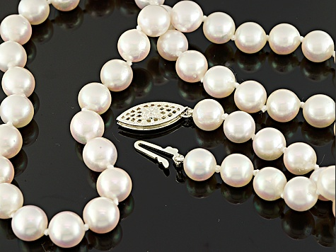 Pre-Owned White Cultured Japanese Akoya Pearl Rhodium Over Silver Necklace 6.5-7mm