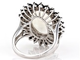 Pre-Owned White Moonstone Rhodium Over Silver Ring 12.50ctw