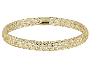 Pre-Owned 10K  Yellow Gold 5.5mm Ribbon Diamond Cut Stretch Mesh Bangle Bracelet