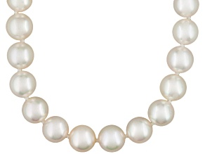 Pre-Owned White Cultured Akoya Pearl 14k Yellow Gold Necklace 20 inch