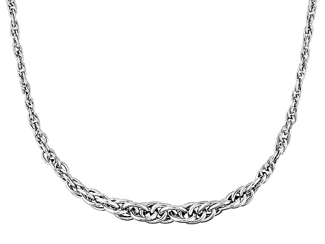 Pre-Owned 14k White Gold Hollow Graduated Rope Link Necklace 18 inch