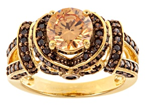 Pre-Owned Brown Cubic Zirconia 18k Yellow Gold Over Silver Ring 4.11ctw