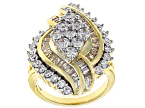 Pre-Owned White Cubic Zirconia 18K Yellow Gold Over Sterling Silver Ring 4.93CTW