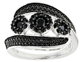 Pre-Owned Black Spinel Rhodium Over Silver Ring 1.38ctw