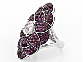 Pre-Owned Pink Kunzite Rhodium Over Sterling Silver Ring 3.70ctw