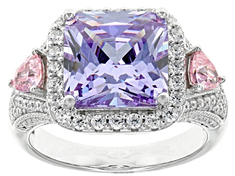 Pre-Owned Purple, Pink, And White Cubic Zirconia Rhodium Over Sterling Silver Ring 8.81CTW