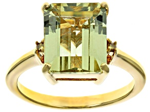 Pre-Owned Yellow apatite 18k yellow gold over silver ring 4.44ctw