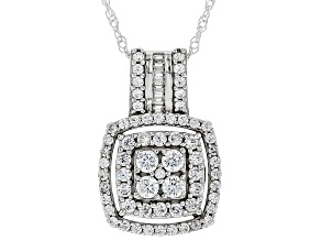 Pre-Owned White Cubic Zirconia Rhodium Over Sterling Silver Pendant With Chain 1.77ctw