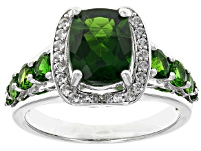 Pre-Owned Green chrome diopside rhodium over silver ring 3.11ctw
