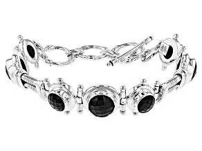 Pre-Owned Black Spinel Sterling Silver Bracelet 16.98ctw