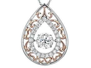 Pre-Owned Moissanite Fire® 1.66ctw DEW Platineve™ And 14k Rose Gold Over Platineve Pendant With Chai