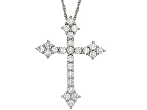 Pre-Owned Moissanite Platineve Cross Pendant 1.44ctw D.E.W